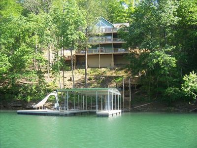 Photo for 'Happyhour', Norris Lake, Cov Dock w/slide, by Deerfield, Lg Fire Pit, sleeps 30