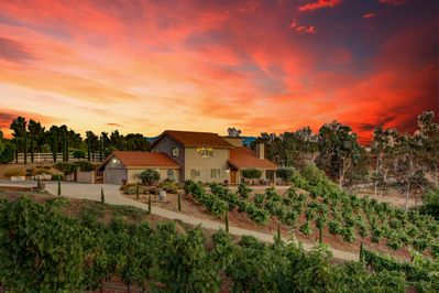 sunset at the home and vineyard vino vento