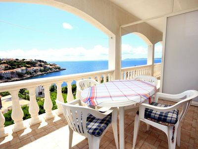 Photo for Two bedroom apartment with terrace and sea view Zavalatica, Korčula (A-546-b)