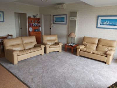 Living room with Moran leather couches