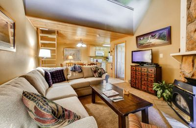 Photo for Snuggle Up in This Lofted Family Condo- Trails are Right Outside Your Door
