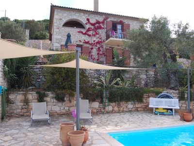Photo for Rural air-conditioned stone villa with private pool and panoramic views sleeps 8