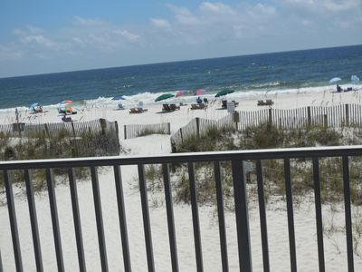 Down the stairs, and you are on the soft white sand  and warm gulf water