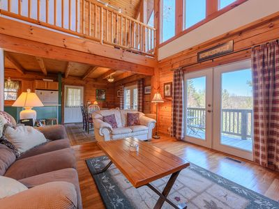 Photo for Log Cabin Surrounded by New River! Mountain Views, Gas and Wood Fireplace, Close to Boone NC