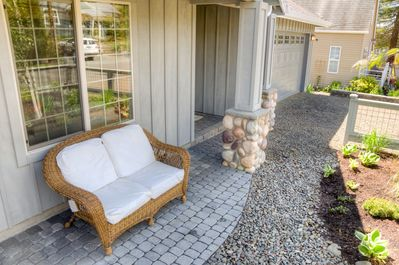Seating out front to relax and unwind on your getaway.