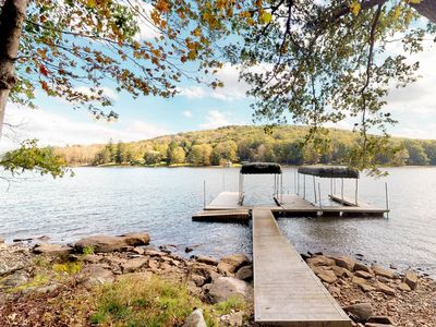 Photo for Dog-friendly lakefront home w/dock, private boat slip, hot tub!