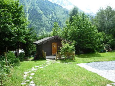 Photo for Chalet for two with log fire in quiet gardens, two minutes from centre of town