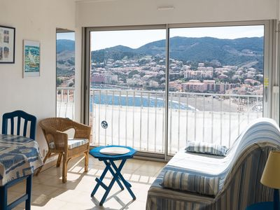 Photo for Panoramic cozy studio sea and mountain views, 5 min beach and town center