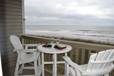 Enjoy the beach from the oceanfront balcony.