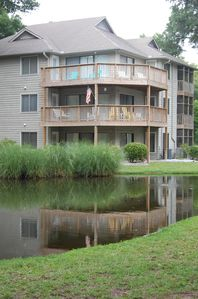 Our ground floor condo next to a small pond.