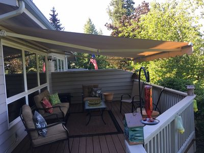 Wonderful Sunsetter awning over the back deck to keep you cool during the summer