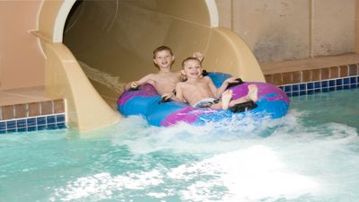 Two Huge Water Slides for big kids and adults.  Smaller Slides for younger kids.