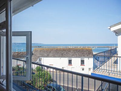 Photo for 10 Dolphin Court -  smart 2 bed apartment with sea views, parking & wi-fi, 2 mins from harbour