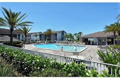Beachside pool with clubhouse and fitness facility