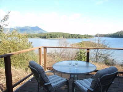 Our Living Room Looks out over the Inlet an distant mountains.