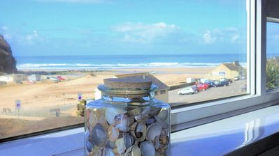 Photo for Cornwall beach apartment with sea views and parking