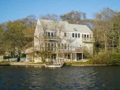 "Photo for Lakeside ""Point of View"" 3BR in Scenic Mashpee Setting w/ Wraparound Deck"