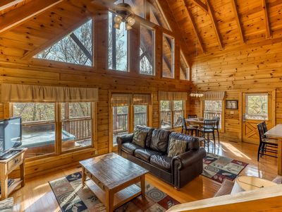 Photo for Mountainside log cabin w/ private hot tub, game room & shared seasonal pool!