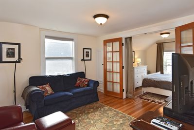 Living room with new and antique furnishings, cable tv and wifi