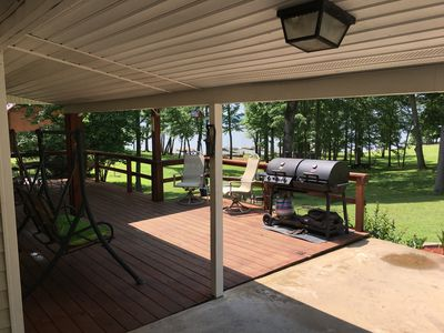 back deck- great for relaxing with a beautiful view of the lake