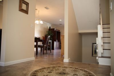 2nd floor entry way, remodeled and redecorated, hard wood stairs and tiled floor