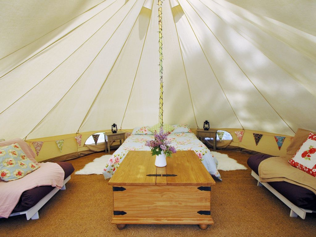 Bell tent with private shower room and kitchen hut and shared pool near Sarlat & Truffe Noire - Glamping Tent: Bell tent with private shower room ...