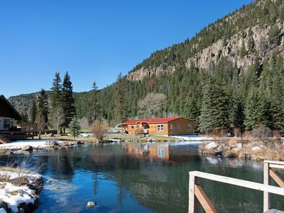 Photo for Spacious waterfront cabin w/hot tub, furnished deck & wood stove