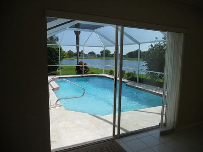 Pool and lake view from Family room