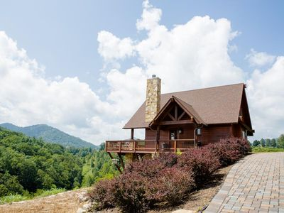 Photo for MountainHomeF15E-Luxurious Cabin ; Spectacular Views, hot tub, awesome outdoor amenities, close to Asheville & activities.