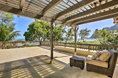 This 3-bedroom, 2.5-bathroom vacation rental home is just steps to the beach.