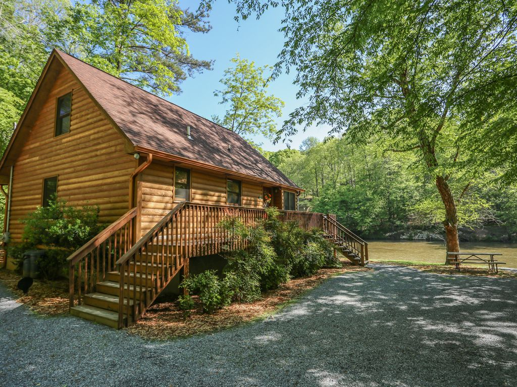 Ellijay river cabin on the rushing coosawattee 145 for Ellijay cabins for rent by owner