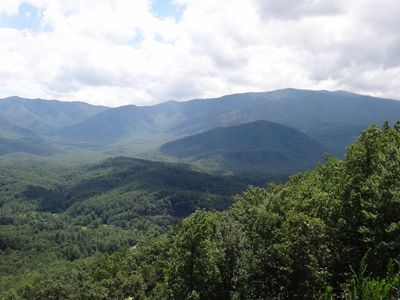 50 Mile view of Mt Leconte and Bluff Mountain from all 3 decks