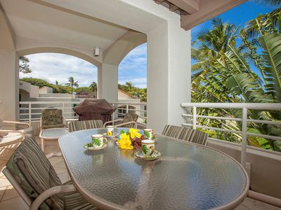 Photo for Beautifully decorated! Very private! Partial Ocean View! Palms at Wailea 2202