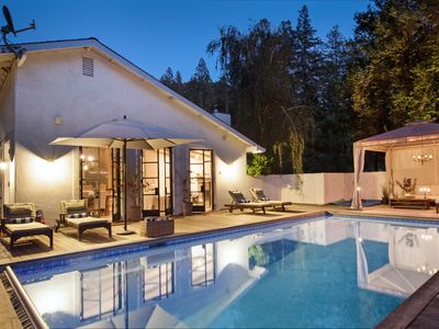 Photo for ELEGANT CREEKSIDE VILLA  pool, spa, bocce, lawn, gated, private, Tesla charger