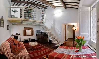 Photo for Rome: Romantic penthouse of 700 with wifi, fireplace and a panoramic terrace in the heart of the historic center, near Piazza Navona