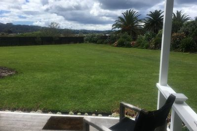 View over garden to the Whangateau harbour
