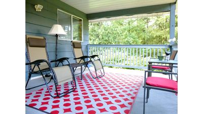 Soak in the country in zero-gravity chairs on the covered deck.