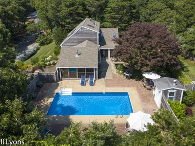 Photo for #456:Large pool, fenced-in yard, fire pit, foosball table, & close to Great Pond!
