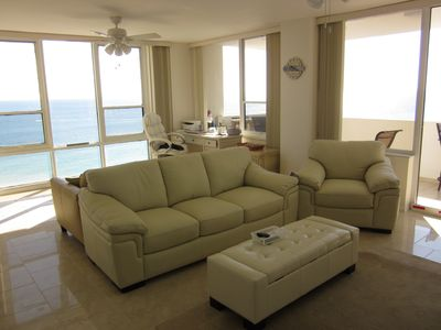 Photo for Beach front  14th floor unit,  large balcony, magnificent view.