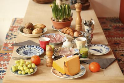 Your breakfast is a feast of Dutch cheeses, fresh egg's from our own chickens