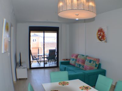 Photo for Lovely 3 bed top floor apartment, 1st Line Beach