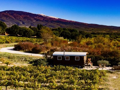 Photo for Unusual rental, cottage trailer on the edge of vineyards, view of the Ventoux