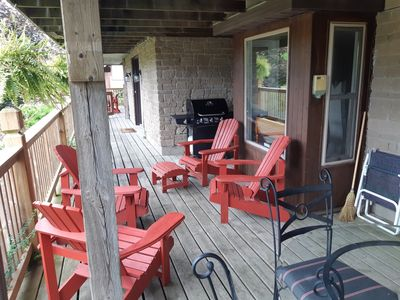 private wrap around covered deck, & BBQ