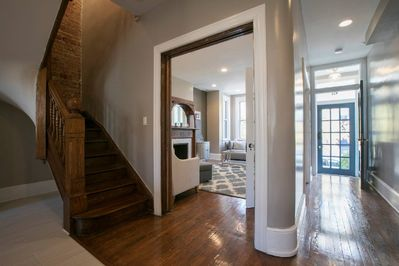 The pocket door and french doors can be closed to make the living room private