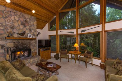 Great Room with Stone Fireplace and 25 foot cedar ceilings
