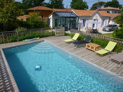Photo for HOUSE WITH HEATED SWIMMING POOL 50 M FROM ANDERNOS BEACH