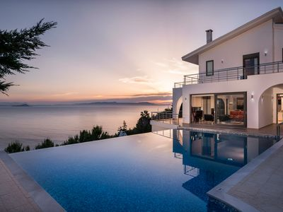 Photo for A modern villa with pool and jacuzzi, with breathtaking sea view
