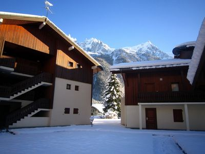 Photo for Two bedroom garden apartment next to ski area in Chamonix with Free WiFi