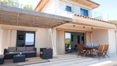 Photo for New architect villa with exceptional panorama on Gulf of Porto, Scandola