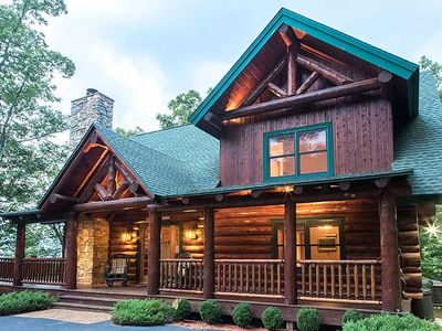Photo for Beautiful Timberframe Log Home.  View, Hot Tub, Pool Table & Gas Log Fireplaces